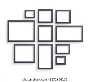 Wall picture frame templates isolated on white background. Blank photo frames with shadow and borders and shadow vector illustration. Empty frame for photo or image picture in museum