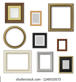 Wall pictures and photo frames, square and round shape. Vector border of wood and plastic, interior design decor elements. Blank space for photography or artwork, house adornment