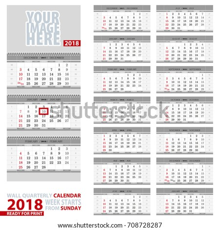 Wall Quarterly Calendar 2018 Week Start Stock Vector Royalty Free