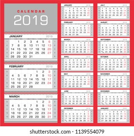 Wall quarterly calendar 2019 with week numbers. Week start from Monday. Ready for print, color - Black, Red, Silver. Vector Illustration