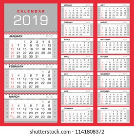 Wall quarterly calendar 2019 with week numbers. Week start from Sunday. Ready for print, color - Black, Red, Silver. Vector Illustration
