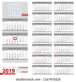 Wall quarterly calendar 2019. Week start from Sunday, ready for print. Vector Illustration.