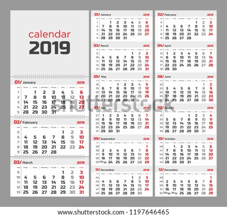 Wall Quarterly Calendar 2019 Week Numbers Stock Vector Royalty Free