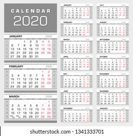 Wall quarterly calendar 2020 with week numbers. Week start from Monday. Ready for print, color - Black, Red, Silver. Vector Illustration