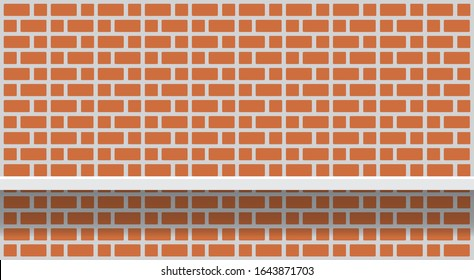 wall red brick pastel with shelf for background, wall red brown brick bathroom and shelf, brick pattern wall structure of architecture, cement wall red brick full image, old cement block for display