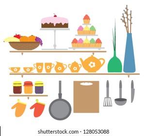 Wall sticker illustration of kitchen elements for children