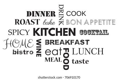Wall sticker with slogans to kitchen