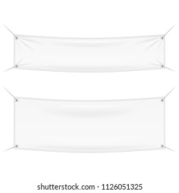 Wall Streamer Vinyl Flex Banner, Fabric, Nylon With Folds. Corners Ropes. Shield. Mock Up, Template. Illustration Isolated On White Background. Ready For Your Design. Product Advertising. Vector EPS10