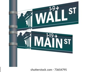 Wall street main street vector intersection