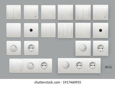Wall switch. Power electrical socket.