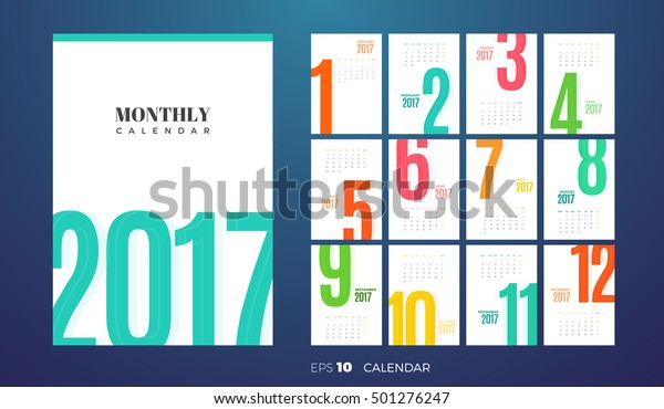 wall or table office monthly calendar for the year 2017  vector eps10  template with vertical