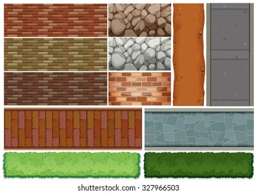 Wall tiles pattern and bush illustration