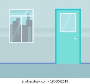 Wall with window and urban city outside. Turquoise door. Design of empty cabinet or office. Day, window with high city buildings outside. Closed door with glass. Vector illustration in flat style