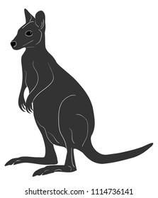Wallaby monochrome illustration