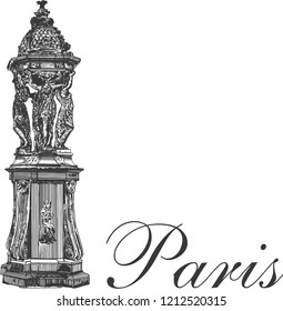 The Wallace Fountain is one of the recognizable symbols of Paris, was created in 1872. France. Hand drawed vector illustration in egraved style