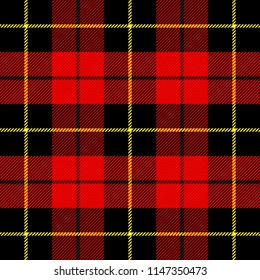 Wallace tartan plaid. Scottish cage. Scottish checkered background. Clan Wallace. Traditional scottish ornament. Scottish pattern in classic colors. Seamless fabric texture. Vector illustration