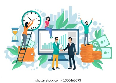 Wallet and banknotes or coins, time money concept vector. Clock and hourglass, laptop and computer monitor, men and women, business partners, green plants