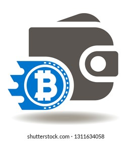 Wallet bitcoin icon vector. Crypto money purse logo. Financial cryptocurrency savings pouch symbol. E-wallet sign.