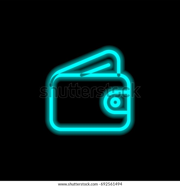 Wallet blue glowing neon ui ux icon. Glowing sign logo vector