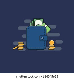 Wallet with cash and credit card. Vector illustration