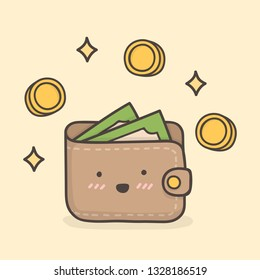 Wallet. Cute Doodle Illustration.