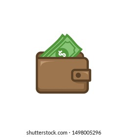 Wallet and dollar icon vector isolated on white background