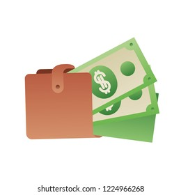 wallet with dollars isolated icon