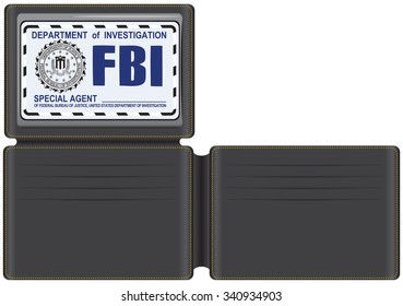Wallet FBI Special Agent, with space for credit cards and plastic cover for identification.