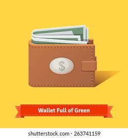Wallet full of green dollars. Flat style vector illustration.