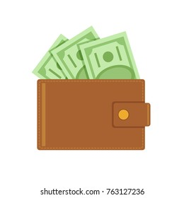 Wallet full of money. Vector flat cartoon illustration