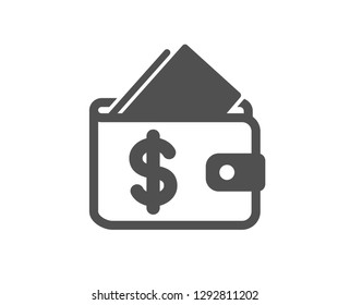 Wallet icon. Affordability sign. Cash savings symbol. Quality design element. Classic style icon. Vector