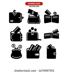 wallet icon or logo isolated sign symbol vector illustration - Collection of high quality black style vector icons