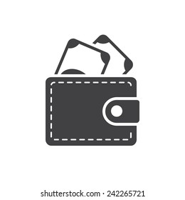Wallet icon, modern flat design