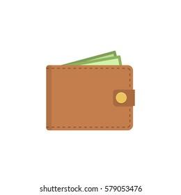Wallet icon. Vector flat wallet illustration.