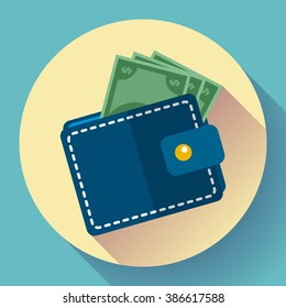 Wallet icon vector Money Icon vector. wallet with money icon flat