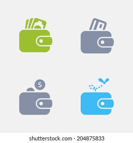 Wallet Icons. Granite Series. Simple glyph stile icons in 4 versions. The icons are designed at 32x32 pixels.
