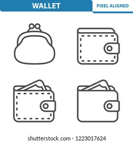 Wallet Icons. Professional, pixel perfect icons, EPS 10 format.
