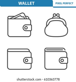 Wallet Icons. Professional, pixel perfect icons optimized for both large and small resolutions. EPS 8 format. 5x size for preview.