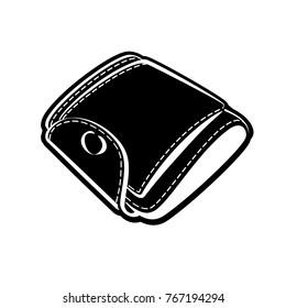 Wallet icons are a purse. vector, black purse