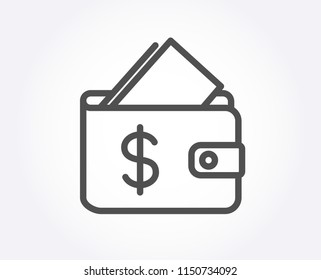 Wallet line icon. Affordability sign. Cash savings symbol. Quality design element. Classic style wallet. Editable stroke. Vector