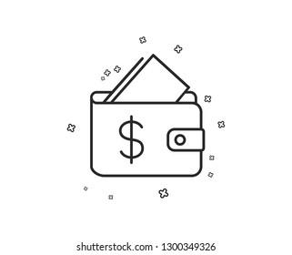 Wallet line icon. Affordability sign. Cash savings symbol. Geometric shapes. Random cross elements. Linear Wallet icon design. Vector
