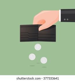 Wallet at little money. Business Concept Illustration.