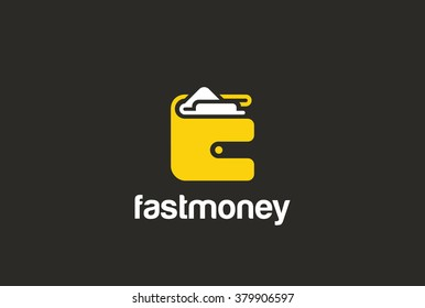 Wallet Logo abstract design vector Negative space. Purse payment Logotype concept icon