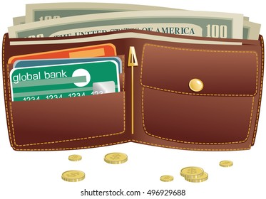 Wallet and money.