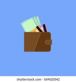 Wallet with money and credit card. Flat style vector illustration