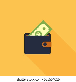 Wallet with money dollar bank note flat design isolated, vector illustration