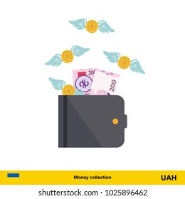 Wallet with money fly away.  hryvnia banknote. Business concept vector illustration.
