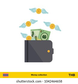 Wallet with money fly away.  Thai baht banknote. Business concept vector illustration.