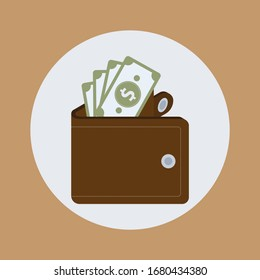 Wallet with money icon flat design on brown color