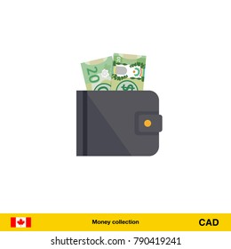 Wallet with money on white background. Canadian dollar banknote. Business concept vector illustration.